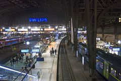 Interior of Hamburg central railway station. Germany Stock Photos