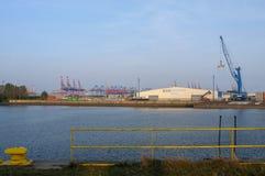 Hamburg, Germany - October 05, 2014: View at Rhenus Terminal, Dradenau Harbour, Finkenwerder. Royalty Free Stock Images