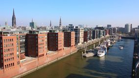 Hamburg, Germany - October 11, 2018. View of river Elbe from above. Different Ships and buildings stock video footage