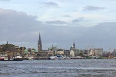 View of the St. Pauli Piers, one of Hamburg`s major tourist attr Royalty Free Stock Photo