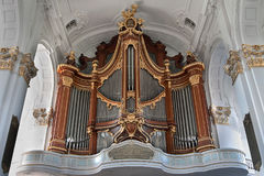 Hamburg, Germany. Organ in the St. Michael& x27;s Church. St. Michael& x27;s Church in Hamburg - the calling card of North Germany. The Church tower served Royalty Free Stock Photography