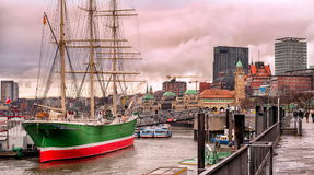 Hamburg, Germany. Port of Hamburg at sunset, Germany royalty free stock image