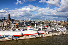 Hamburg in Germany, seascape, embankment. Hamburg port in Germany, seascape, embankment Stock Photography