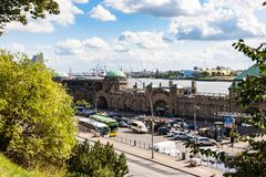 View of St Pauli Landing Stages in Hamburg port. HAMBURG, GERMANY - SEPTEMBER 15, 2017: above view of St. Pauli Landungsbrucken  landing stages landing place in Stock Image