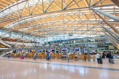 Check in counters on airport. HAMBURG / GERMANY - SEPTEMBER 28, 2018: Check in counters on airport Hamburg royalty free stock photo