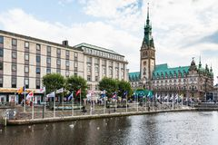 Quayside of Alster Lake and Rathaus in Hamburg Stock Photo