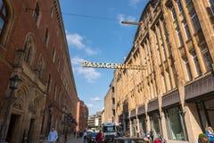 Hamburg, Germany - September 04, 2018: Popular shopping Quarter called Passagenviertel in Hamburg, Germany royalty free stock photography