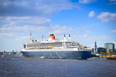 HAMBURG, GERMANY - SEPTEMBER 28, 2016: Queen Mary 2 cruise ship Stock Photo
