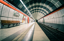 Empty station. Hamburg, Germany - September 16th, 2012: view of a train station in the city center of Hamburg on a Sunday morning Royalty Free Stock Photo