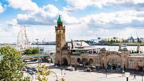 View of St Pauli Landing Bridges in Hamburg port. HAMBURG, GERMANY - SEPTEMBER 15, 2017: view of St Pauli Landungsbrucken Landing Bridges landing place in Port Stock Photos