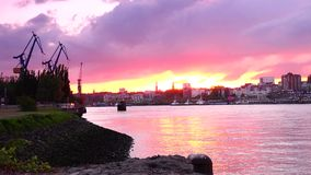 HAMBURG, GERMANY : Ships at Hamburg St. Pauli harbor; is the second busiest in Europe. stock footage