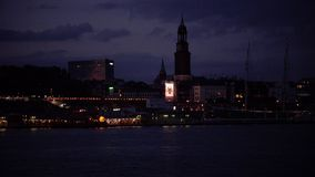 HAMBURG, GERMANY : Ships at Hamburg St. Pauli harbor; is the second busiest in Europe. stock video