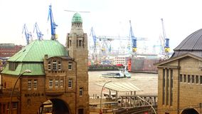 HAMBURG, GERMANY : Ships at Hamburg St. Pauli harbor; is the second busiest in Europe. There are various museum ships, trains,musical theaters, bars stock footage