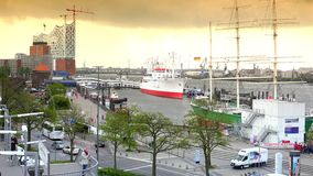HAMBURG, GERMANY : Ships at Hamburg St. Pauli harbor; is the second busiest in Europe. There are various museum ships, trains,musical theaters, bars stock video