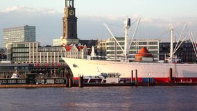 HAMBURG, GERMANY : Ships at Hamburg St. Pauli harbor; is the second busiest in Europe. There are various museum ships, trains,musical theaters, bars stock video footage