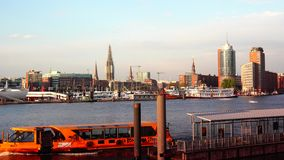 HAMBURG, GERMANY : Ships at Hamburg St. Pauli harbor; is the second busiest in Europe. stock video footage