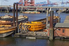 Hamburg (Germany) - Ships at the Rugenberger Port Stock Photos