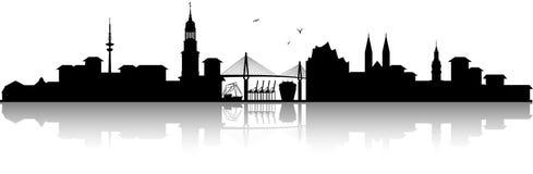 Hamburg germany skyline silhouette black isolated vector