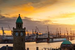 Hamburg, Germany. Sunset in Hamburg, Germany during autum royalty free stock photos