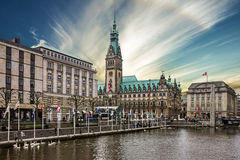 Hamburg, Germany, town hall Rathous, river Alster Royalty Free Stock Photography