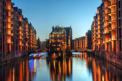 Hamburg, Germany. Twilight view of Warehouse District (Speicherstadt) in Hamburg, Germany Stock Photo