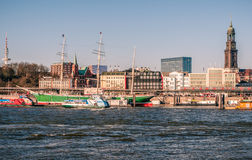 Hamburg-Rickmer Rickmers. Hamburg, Germany, viewed from the riverside on the south of the river Elbe. The famous museum-ship Rickmer Rickmers as well as the St royalty free stock photography