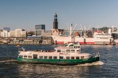 Hamburg, view from the south. Hamburg, Germany, viewed from the riverside on the south of the river Elbe Royalty Free Stock Photography