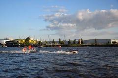 Waterski Show, Harbor Anniversary St. Pauli-Landungsbrucken. Hamburg, Germany: Waterski Show, Harbor Anniversary St. Pauli-Landungsbrucken royalty free stock photos