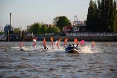 Waterski Show, Harbor Anniversary St. Pauli-Landungsbrucken stock image