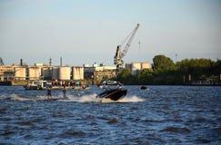 Waterski Show, Harbor Anniversary St. Pauli-Landungsbrucken. Hamburg, Germany: Waterski Show, Harbor Anniversary St. Pauli-Landungsbrucken stock photography