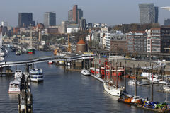 Hamburg, Germany - Wiev from new Elbphilharmonie to the part of Royalty Free Stock Photo