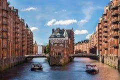 Hamburg gränsmärke Wasserschloss Fotografering för Bildbyråer