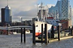 Hamburg-Hafen und Stadtufergegend, Deutschland Stockbilder