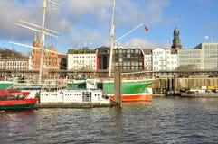 Hamburg-Hafen und Stadtufergegend, Deutschland Lizenzfreies Stockfoto