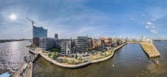 Hamburg Hafencity Panorama HDR Stock Photography