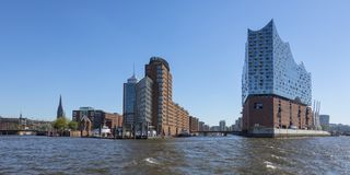 Hamburg HafenCity Panorama. Panoramic view of HafenCity district at Hamburg from the Elbe river with office buildings and Elbe Philharmonic Hall Royalty Free Stock Photography