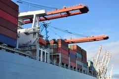 Hamburg-Hafendock und Frachtcontainerbahnhof, Deutschland Lizenzfreie Stockfotos
