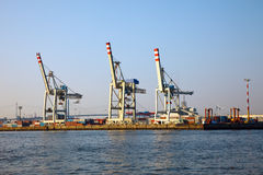 Hamburg harbor. Cranes in Hamburg harbor, Germany Stock Photo