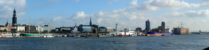 Hamburg harbor. Panorama of Hamburg harbor, Germany royalty free stock photo