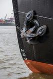 Hamburg harbor anchor ship background Stock Images