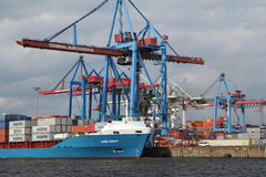 Hamburg harbor container ship Royalty Free Stock Images