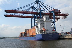 Hamburg harbor container ship Royalty Free Stock Photos