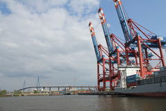 Hamburg harbor container ship Stock Photography