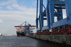 Hamburg harbor container ship Royalty Free Stock Photo