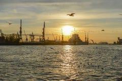 Hamburg harbor at evening Stock Photo