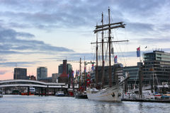 The Hamburg harbor in the evening. Stock Image