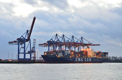 Hamburg harbor in Germany. Cranes unloaded the cargo ship Royalty Free Stock Photos