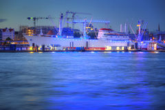 Hamburg. Harbor of Hamburg - illuminated in blue royalty free stock photos