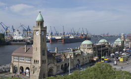 Hamburg harbor level tower and landing Bridges , Germany Royalty Free Stock Photos