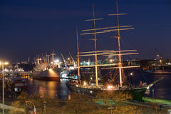 Hamburg harbor at night Stock Image